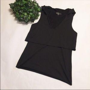 🍁 LULUS hoodie black shell sleeveless top raw hem